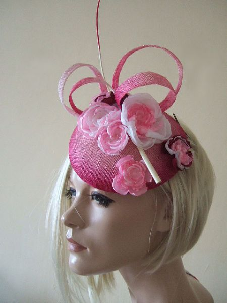 Pink Ombre Fascinator with Flowers on Button with Crystals and Quill Large Headpiece Hat